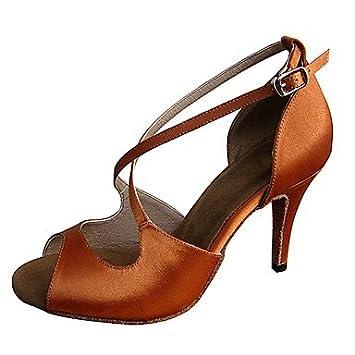 Women's Latin Satin Sandale Ferse Ferse Braun Professional Individuell anpassbare 4   (10cm) Slim High Heel Braun...
