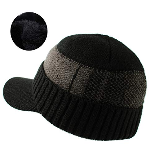 Aablexema Mens Outdoor Newsboy Hat - Men Winter Warm Thick Knit Beanie Cap with Visor and Fleece Lining