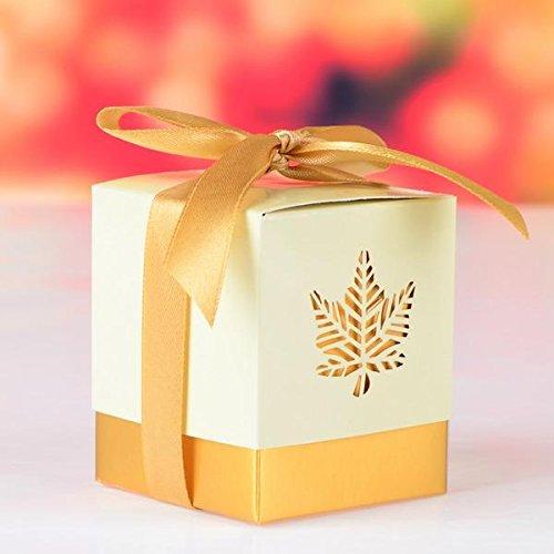 Caja de papel boda de la hoja de arce 12pcs para las cajas de chocolate partido de la caja del caramelo de embalaje para...
