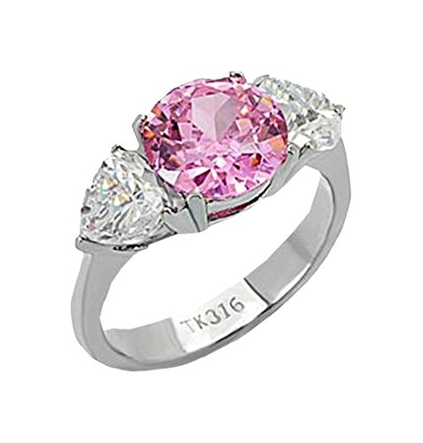 The Knot Jewelry 3 Stone ring designer fashion 3.75ct Pink Center Stainless Steel ()