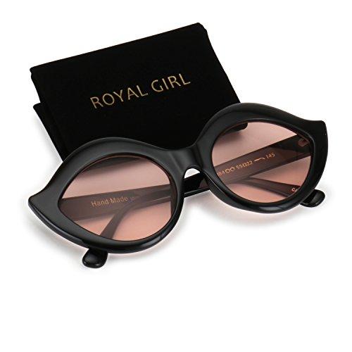 ROYAL GIRL Cat Eye Mod Labiate Sunglasses Retro Oval Lip Goggles with Round Lens Black Frame Pink