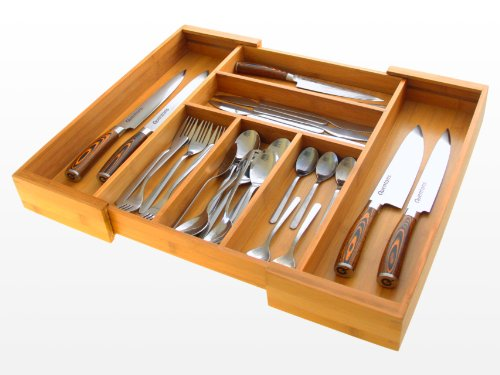Organizador de Cajones Extensible, Bandeja de Cajón de Cocina, para Cubiertos 33 - 56.5 x 46 x 6.5 cm, Hecha de Bambú Natural