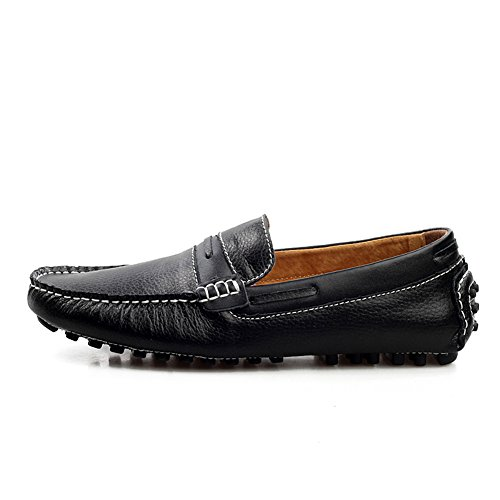 Men's Leather Shoes Black Place Work Loafers Enllerviid U4FRqw4