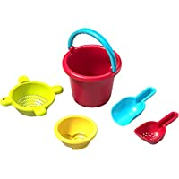 HABA Sand Toys Basic Set - 5 Piece Bundle with Plastic Pail, Sieve, Mold, Scoop and Sifting Shovel Sized just for Toddlers Ages 18 Months +