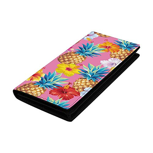 InterestPrint Women Clutch Purse, Card Holder Wristlets Wallets Pattern with Pineapples and Hibiscus Flowers