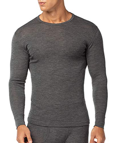 LAPASA Men's 100% Merino Wool Thermal Underwear Top Crew Neck Base Layer Long Sleeve Undershirt M29 (XXL Chest 47