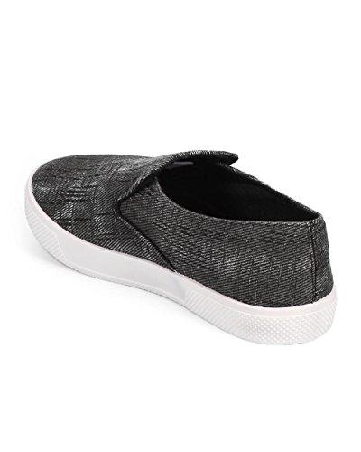 Round Elastic Women Wild Toe on Canvas Distressed DF50 Diva Black Slip Sneaker aXXqH7