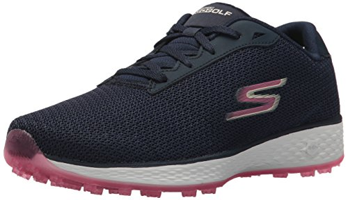 Skechers Performance Women's Go Golf Birdie Wide Golf Shoe, Navy/Pink Mesh, 10 W US