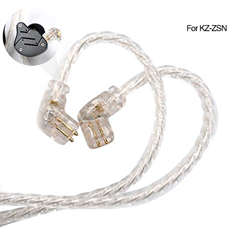 KZ ZSN Headphones Cable, Silver Plated Upgrade Cable 2PIN Gold-Plated Pin 0.75mm High Purity Oxygen Free Copper Earphone Cable Earbuds Wire for ZSN