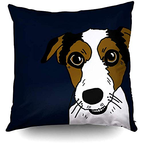 Russel Jack Terrier (Halloween Nacho The Jack Russel Terrier Decorative Throw Pillow Case 18X18Inch,Home Decoration Pillowcase Zippered Pillow Covers Cushion Cover with Words for Book Lover Worm Sofa Couch)