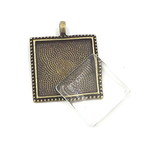 12 Deannassupplyshop 1 inch square dot Pendant Trays with dome glass - Antique Bronze - 1 inch - Pendant Blanks Cameo Bezel Settings Photo Jewelry - Custom Jewelry Making - 1 inch