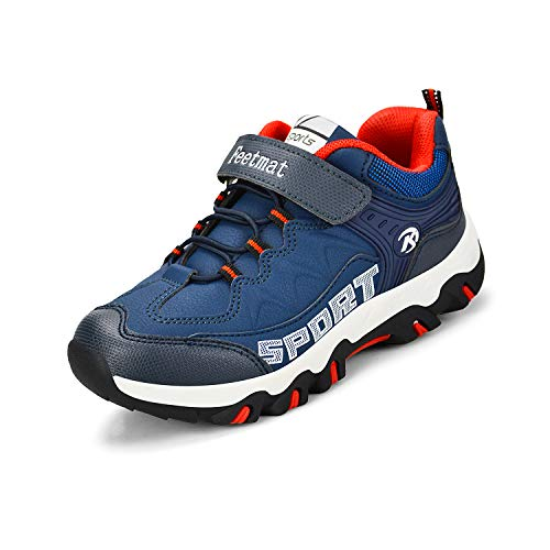 ZOCAVIA Kids' Outdoor Sport Shoes Lightweight Hiking Walking Sneakers - 5 M US Big Kid Navy White