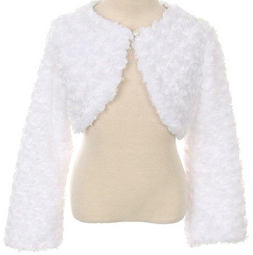 Little Girls Fluffy Faux Fur Swirl Bolero Jacket Winter Knit Sweater White 6 (S03K) (Button Swirl White)