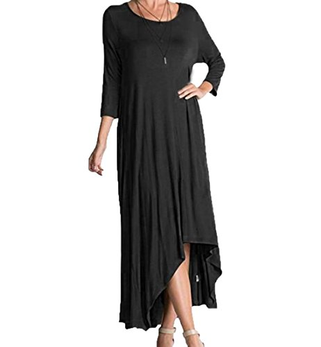 Aprilley Women's Half Sleeve Crew Neck Fairy Swing Beach Dresses Black L (Plus Size Fairy Dress)