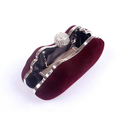 Evening Clutch wine Party Wedding Handbag Women Shoulder red Velvet Bags NVBAO Dress XIvcqEwBvx