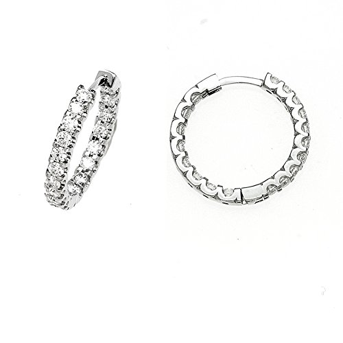 1.5ctw. Diamonds 18KT White Gold Hoop Inside/Out Earrings Pair ()
