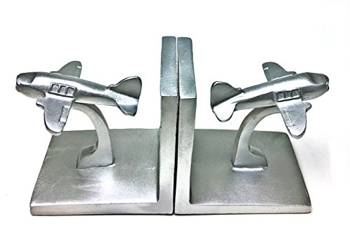 Bellaa 20874 Aviator Bookend Pair Silver Finish Air Plane Book (Airplane Bookends)