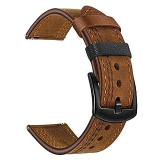 TRUMiRR Watchband for Fossil Men's Gen 5 Carlyle, TRUMiRR Double Color Genuine Leather Watch Band Quick Release Strap Sports Bracelet for Fossil Men's Gen 4 Explorist HR/Gen 3 Q Explorist