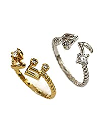 18K Gold & S925 Silver Plated Cubic Zirconia Music Notes Women Adjustable Open Band Ring