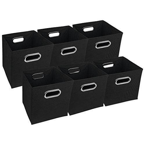 Evelots Navy Or Black Foldable Fabric Cube Storage Bins, Set Of 6 Black by Evelots