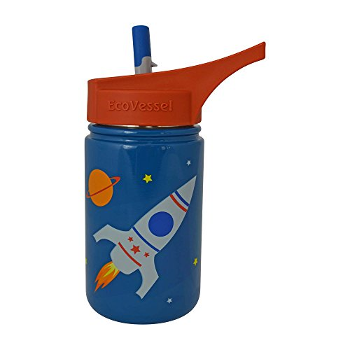 EcoVessel SCOUT Kids Stainless Steel Water Bottle with Flip Straw - 13 ounces - Blue with Rocketship
