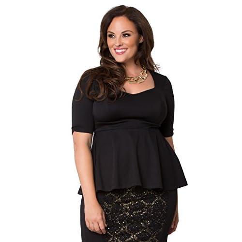 569ee45e2b8 on sale Kiyonna Women s Plus Size Posh Ponte Peplum Top ...