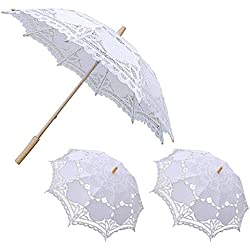 Lace Umbrella, E SELECT Wedding Party Decoration for Romantic Bridal Photograph 1 Big and 2 Small (White Pack of 3) (white)