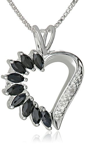 Sterling Silver Sapphire Half-and-Half Open Heart Pendant Necklace, 18