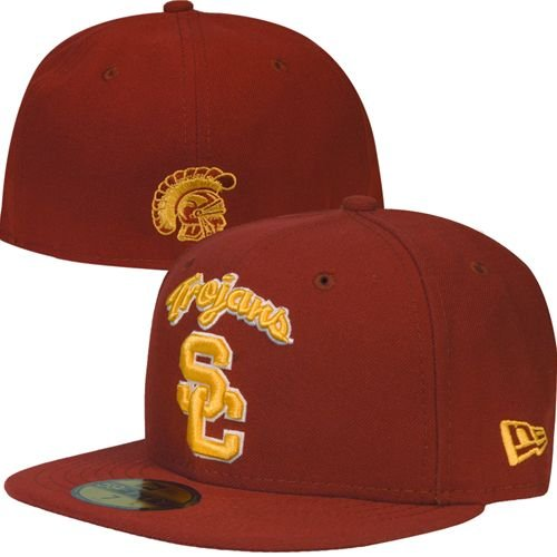 NEW ERA 59fifty Hat USC Trojans Fitted College Ac Script Cardinal Red Cap (7 1/8) Usc Trojans Cap