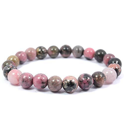 (Crocon Rhodonite Beads Stone Bracelet for Reiki Healing and Chakra Balancing Healing Powers Cleansing Sustainable Beads Size - 8 mm Approx)