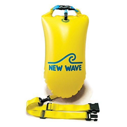 New Wave Swim Buoy - Swim Safety Float and Drybag for Open Water Swimmers, Triathletes, Kayakers and Snorkelers, Highly Visible Buoy Float for Safe Swim Training (PVC 15 Liter Yellow) (Buoys Safety)