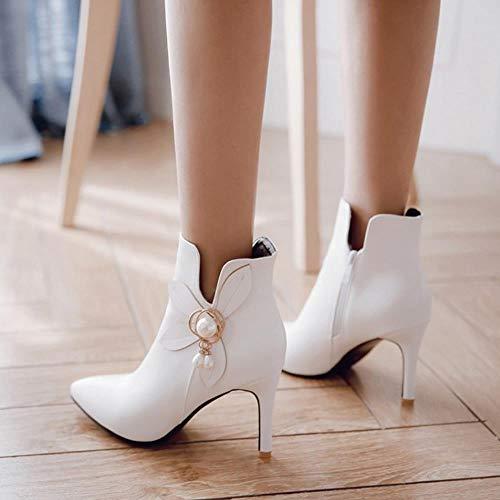 Zipper High VulusValas Boots Ankle Women White Heel 0BXwHFxq
