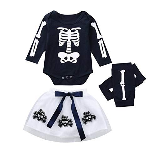 KONFA Toddler Baby Girls Skeleton Romper Bowknot Tutu Dress Leggings,Little Princess 3Pcs Outfits Halloween Costumes Sets (Navy, 12-18 Months) -