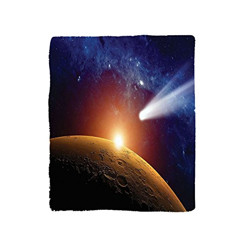 VROSELV Custom Blanket Outer Space Comet Tail Approaching Planet Mars Fantastic Star Cosmos Dark Solar System Scenery Bedroom Living Room Dorm Bue Orange by VROSELV