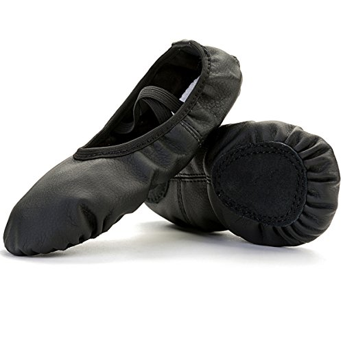 FEETCITY Ladies/Womens Ballet Slippers For Dance Split Sole(Toddler/Little Kid/Big Kid/Women) Black 6.5 B(M) US Women