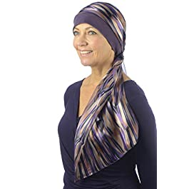 Chemo Hat for Women with Chiffon Scarf – 100% Jersey Cotton Chemo Caps for Hair Loss, Chemotherapy, Cancer and Alopecia