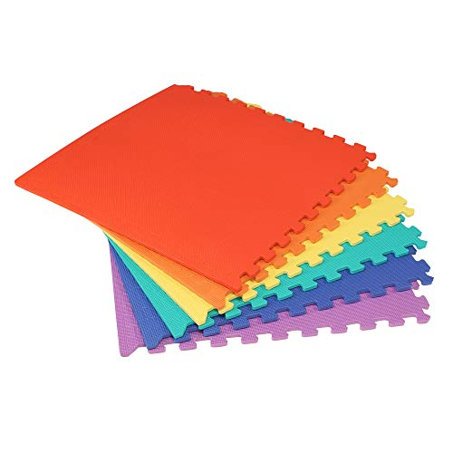 We Sell Mats Multi Color 36 Sq Ft (9 assorted tiles + borders) Foam Interlocking Anti-fatigue Exercise Gym Floor Square Trade Show Tiles ()