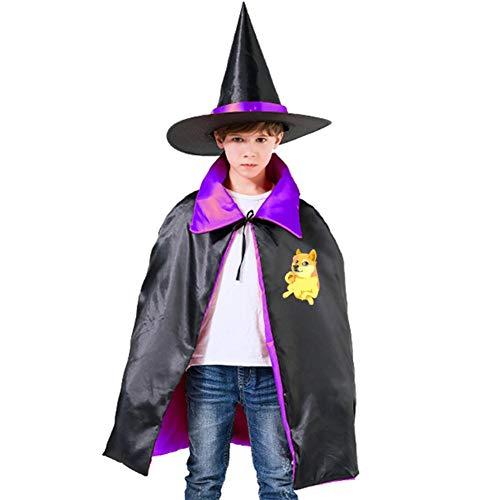 Kids Cloak Doge Pet Wizard Witch Cap Hat Cape All Hallow Mas Costume Magician Halloween Party Girls DIY Prop