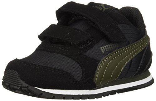 (PUMA Unisex-Kids ST Runner NL Velcro Kids Sneaker, Black-Forest Night, 13 M US Little Kid)