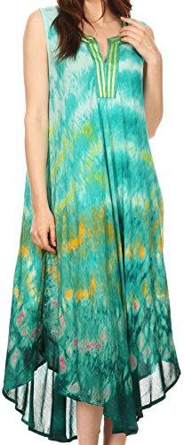 Sakkas 17708 - Kalia Sleeveless Tide Dye Split Neck Dress/Cover up - Turq/Yellow - (Dye Cotton Gauze)