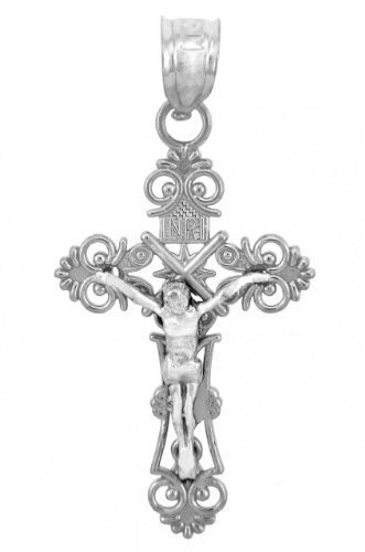 10 ct 471/1000 Or Blanc Crucifix - Radiance Crucifix Pendentif