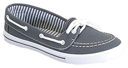 RL Perla 82 Canvas Lace up Flat Slip On Boat Comfy Round Toe Sneaker Tennis Shoe Grey 9