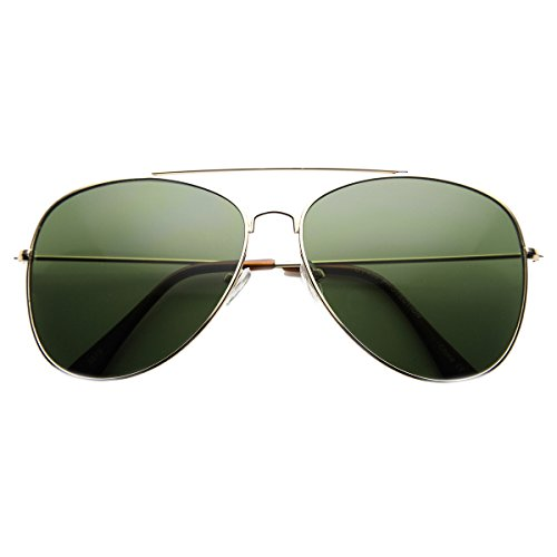KUSH - Large Tear Drop Classic Lightweight Metal Aviator Sunglasses (60mm) (Gold - Kush Sunglasses