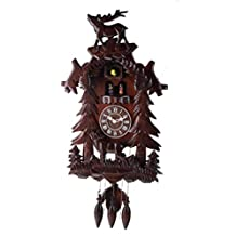 Deluxe 17.3-inch Dual Carved Elk with Turning Dancers Cuckoo Clock, Quartz Timepieces - C00123