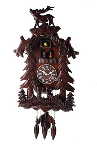 Deluxe 17.3-inch Dual Carved Elk with Turning Dancers Cuckoo Clock, Quartz Timepieces - - Clock Elk Cuckoo