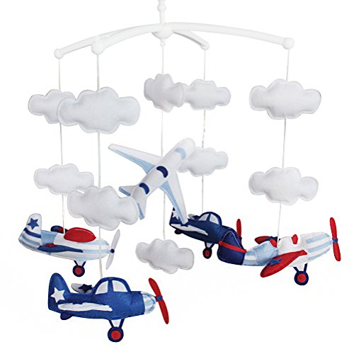 Baby Cloud Mobile, Musical Baby Mobile, Baby Crib Mobile, Aircraft by Black Temptation