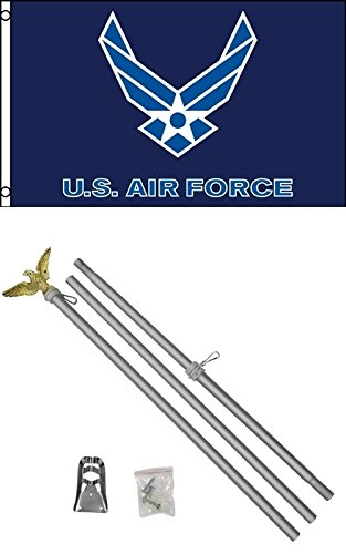 3'x5′ US AIR FORCE Blue Wings Polyester Flag and 6′ Aluminum POLE KIT For Sale