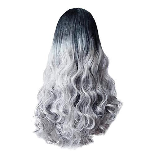 Sakamu Wigs For Women Human Hair Short/Long/Bangs Hair,Sexy Women Long Hair Black Gradient Big Wave Long Curly Wigs Rose Net High Tempe(Black) ()