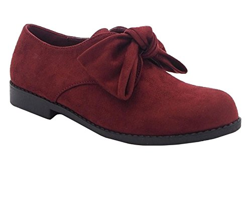 Loafer On Bow Suede Low CRAZY Shoes Womens Casual Flat Ladies SHU G35 Pumps Heel Burgundy Slip Front Faux 7wSOfnq