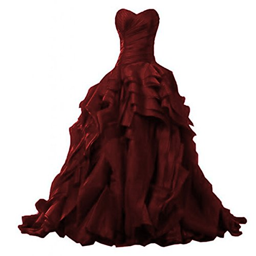 OWMAN Ruffles Ball Gown Quinceanera Dresses Princess Sweetheart Organza Pageant Prom Party Gown Burgundy